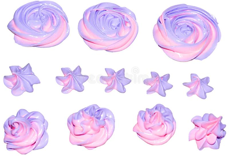 Colored pink and marshmallow marshmallows in the shape of a flower for decoration of a festive dessert on an isolated white backgr. Ound stock photo