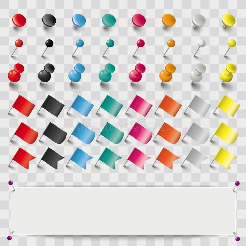 Free Colored Pins Flags Tacks Set Banner Shadows Transparent Royalty Free Stock Photography - 113058497