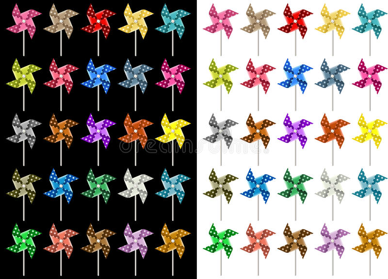 Colored Pinwheel. Scalable vectorial image representing a colored pinwheel, isolated on white and black royalty free illustration