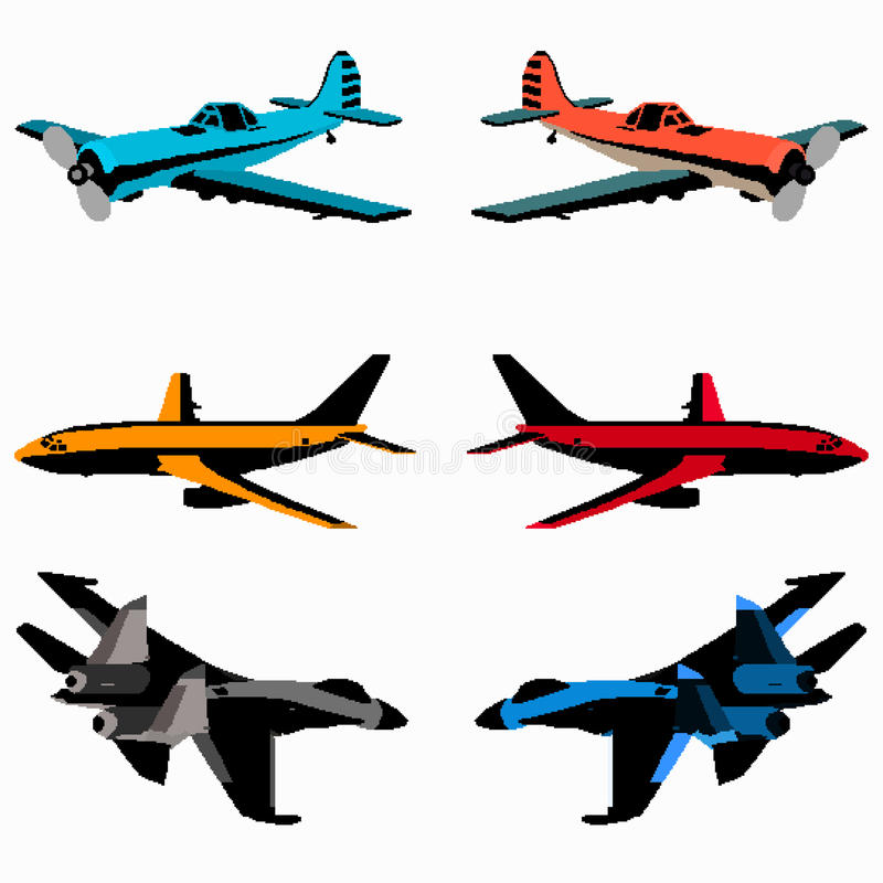 Colored pixel art planes collection royalty free illustration