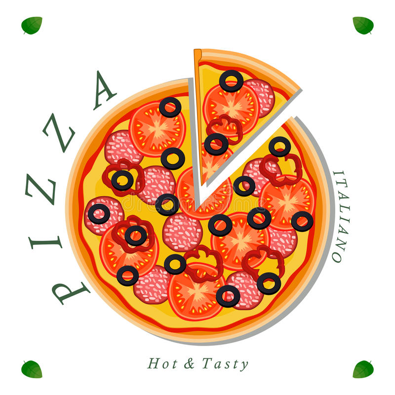 The colored pizza. Vector logo illustration for pizzeria menu sliced triangle whole hot pizza.Pizza on the wood board the ingredients for the pizzeria on the stock illustration