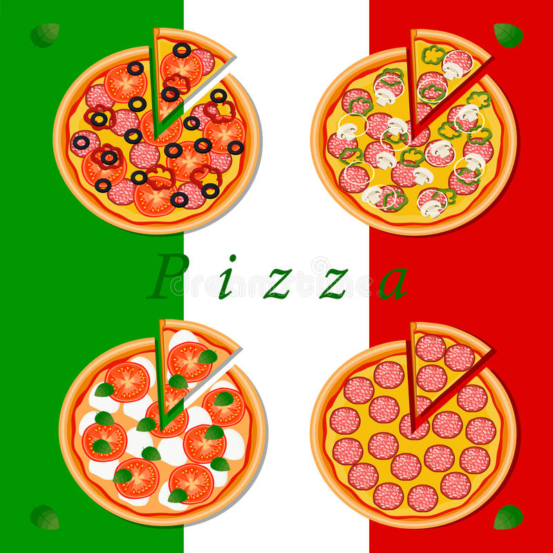 The colored pizza. Vector logo illustration for pizzeria menu sliced triangle whole hot pizza.Pizza on the wood board the ingredients for the pizzeria on the vector illustration