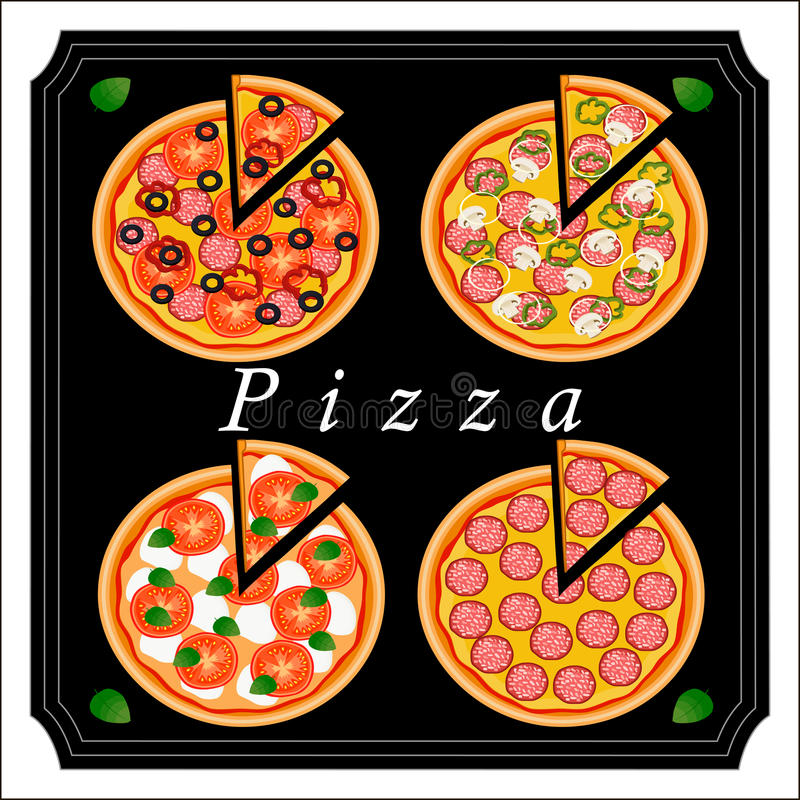 The colored pizza. Vector logo illustration for pizzeria menu sliced triangle whole hot pizza.Pizza on the wood board the ingredients for the pizzeria on the royalty free illustration