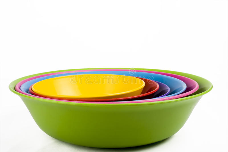 Colored Plastic Bowls Royalty Free Stock Images