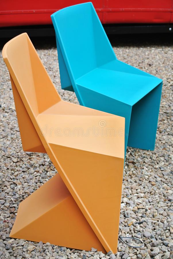Colored plastic chairs detail royalty free stock photos