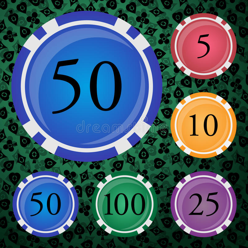 Colored poker chips set. Set vector colored poker chips with a nominal stock illustration