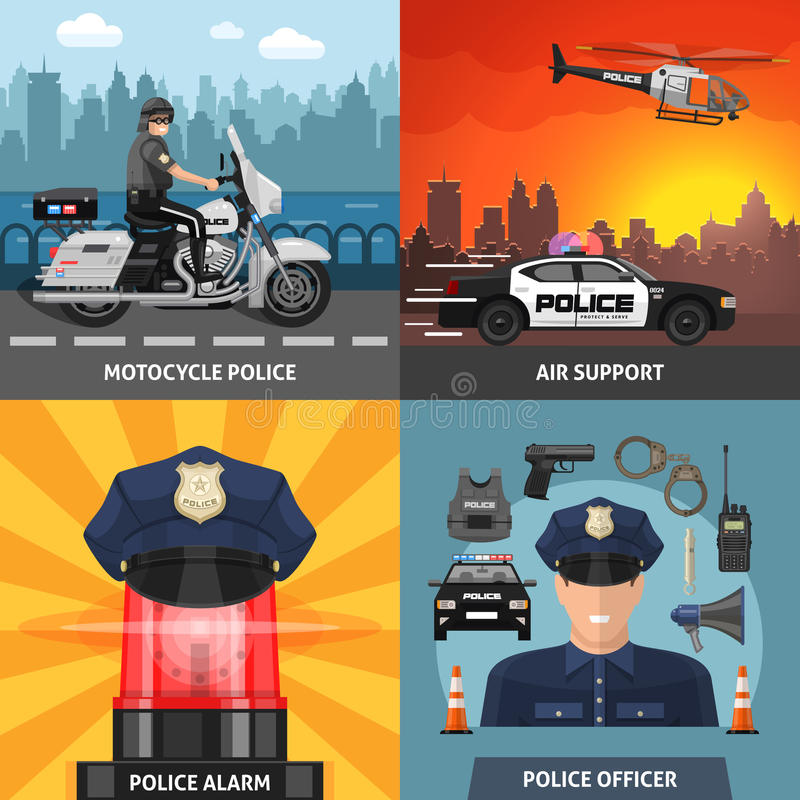 Colored Police Icon Set. Four square colored police icon set with headlines motorcycle police air support police alarm and police officer vector illustration vector illustration