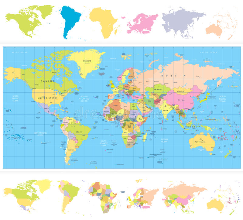 Colored political world map with continnets stock vector download colored political world map with continnets stock vector illustration of continent illustration gumiabroncs Choice Image