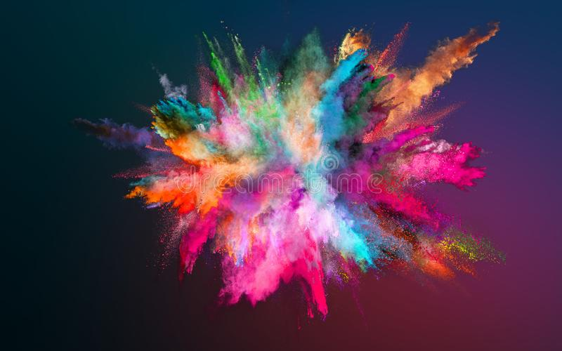 Colored powder explosion on gradient background. Colored powder explosion on dark gradient background. Freeze motion royalty free stock images