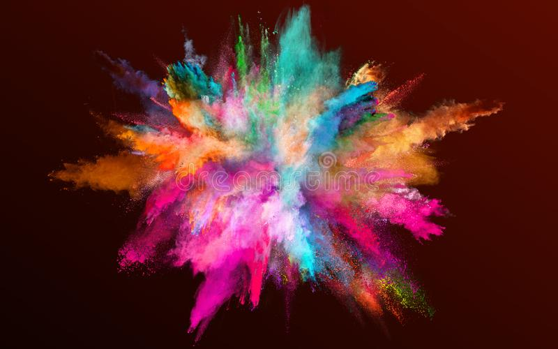 Colored powder explosion on gradient dark background. Freeze motion stock photo