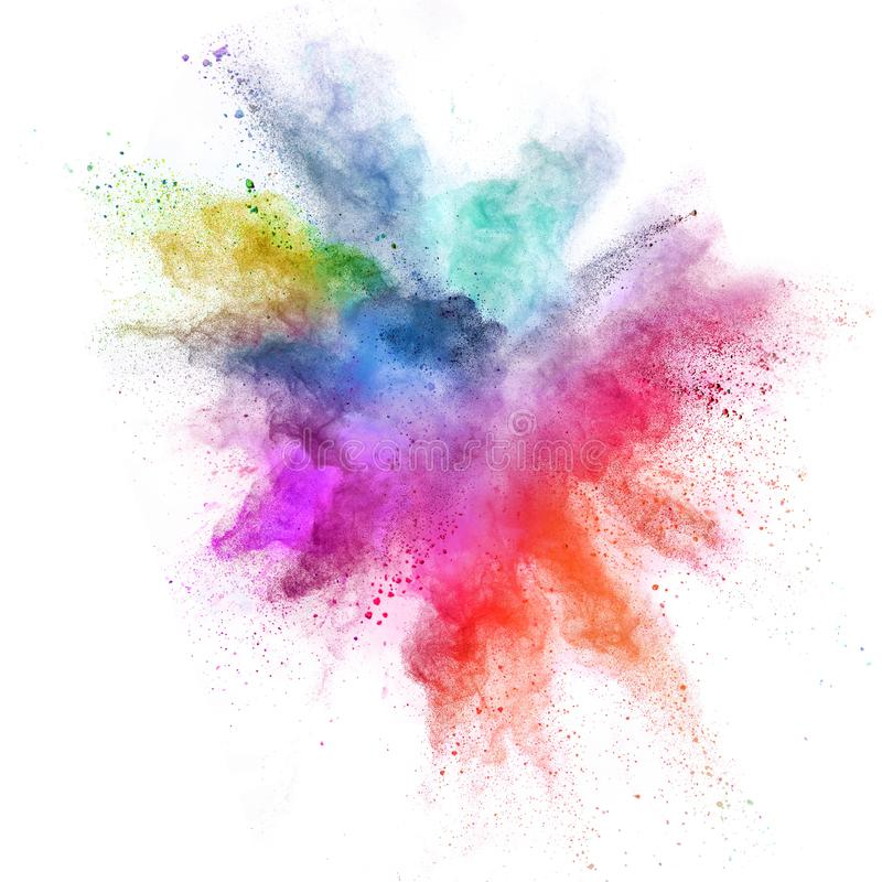 Colored powder explosion isolated on white background. royalty free stock photos