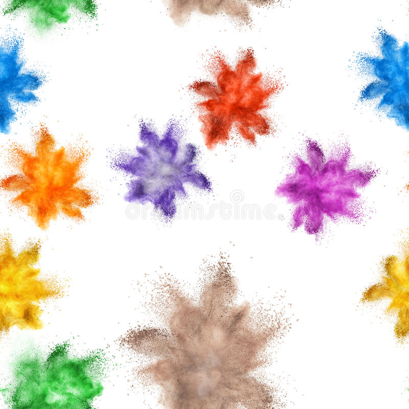 Colored powder explosion. Seamless pattern , many colored powder explosion on white background royalty free stock photos