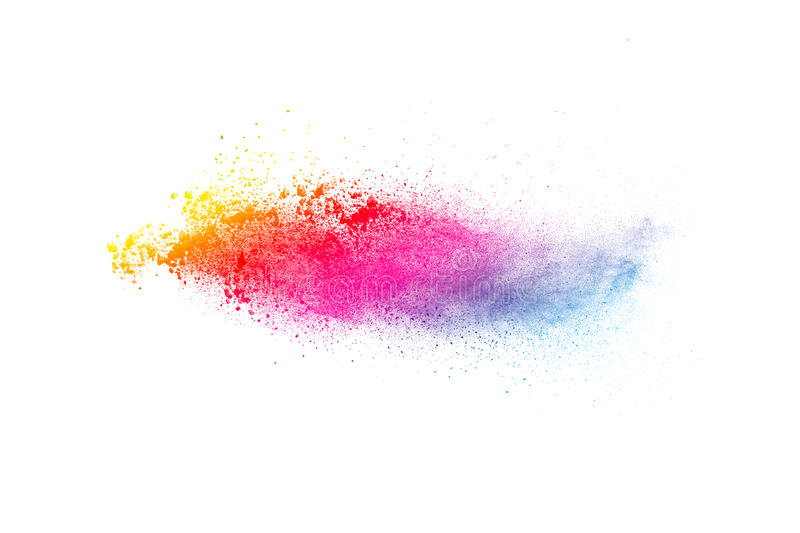 Colored powder splatted on white background. Abstract multicolored powder splatted on white background,Freeze motion of color powder exploding stock photos