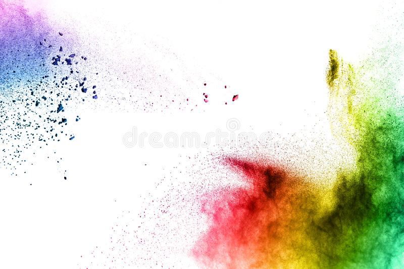 Colored powder splatted on white background. Abstract multicolored powder splatted on white background,Freeze motion of color powder exploding royalty free stock images