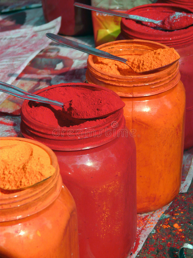 Download Colored Powders stock image. Image of destination, hindu - 4437237