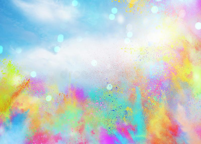 Colored powders for spring holi color party. Background of explosion colored powders and glittering for spring holi color party vector illustration