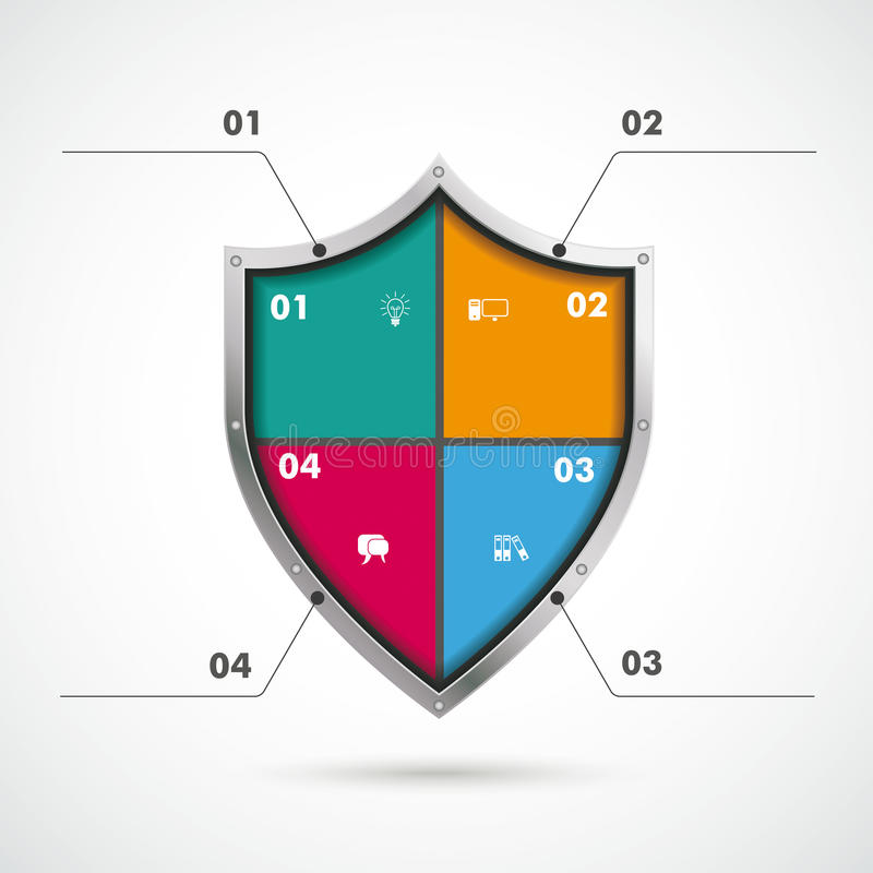 Colored Protection Shield Infographic. Infographic with protection shield on the white background vector illustration