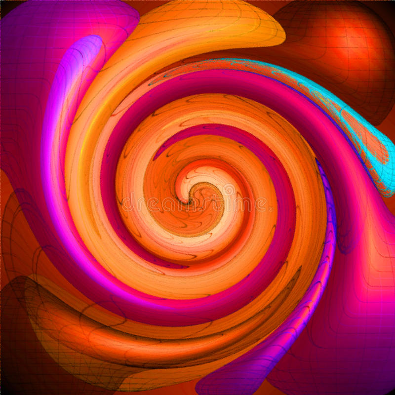 Colored psychedelic spiral. Fractal pattern background royalty free illustration