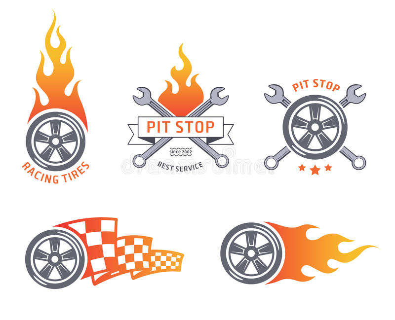 Colored racing tires and service vector emblems vector illustration