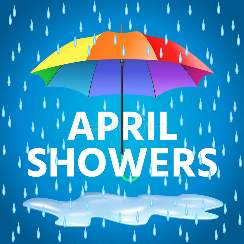 Colored realistic umbrella. Open umbrella in rainbow colors royalty free illustration