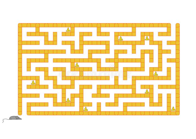 Colored rectangular labyrinth. Help the mouse to collect all the cheese. Game for kids. Puzzle for children. Maze conundrum. Flat. Vector illustration isolated stock illustration