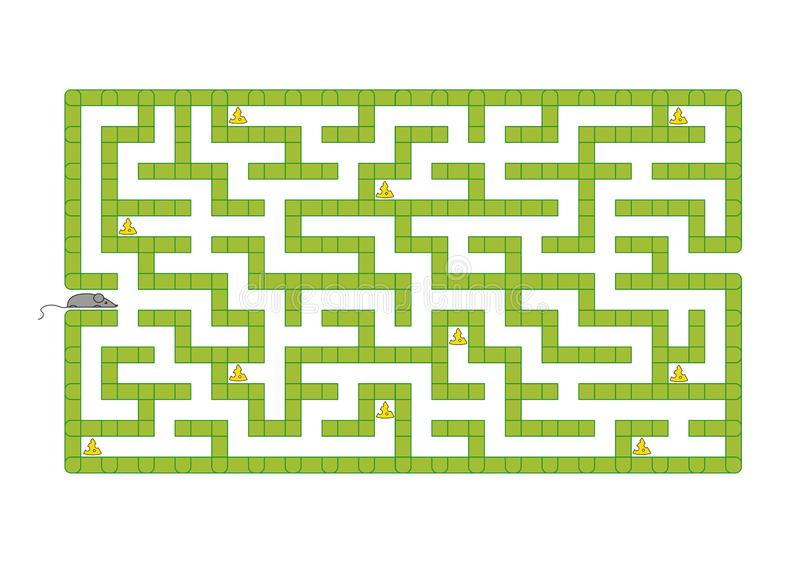 Colored rectangular labyrinth. Help the mouse to collect all the cheese. Game for kids. Puzzle for children. Maze conundrum. Flat. Vector illustration isolated royalty free illustration