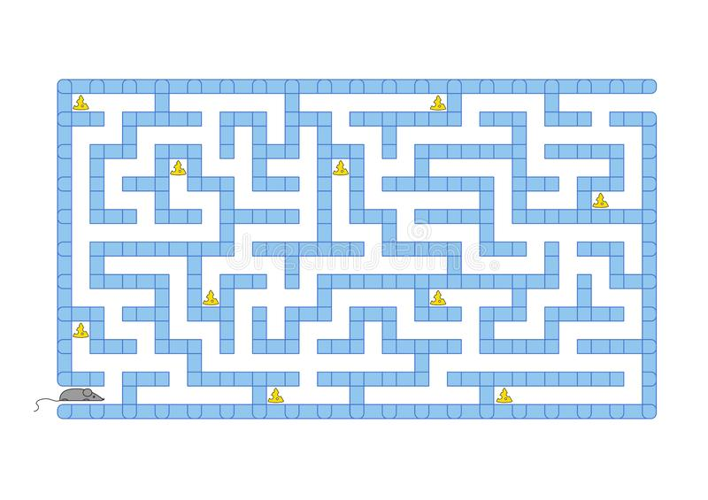 Colored rectangular labyrinth. Help the mouse to collect all the cheese. Game for kids. Puzzle for children. Maze conundrum. Flat. Vector illustration isolated vector illustration