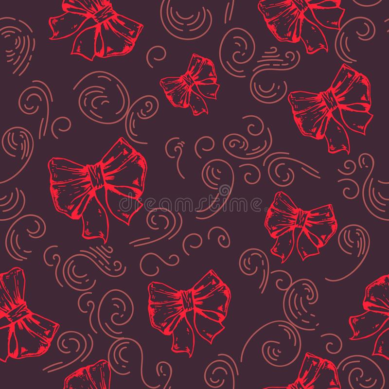 Colored ribbons on a black background seamless pattern. red collection. Cotton Fabric for Sewing, Patchwork, Print. Design Tissue textile Cloth Fabrics stock illustration