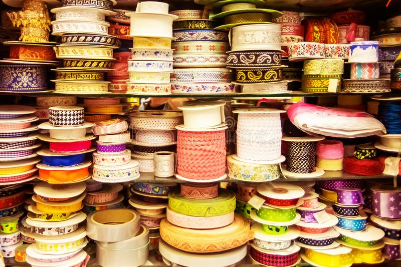 Colored ribbons. Tool for needlework. stock photography