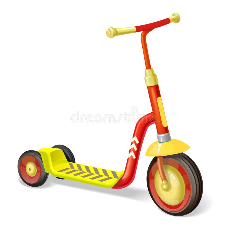 Colored roller scooter for children. Balance bike. Eco city transport. Vector kick scooter collection. Push cycle isolated on whit stock illustration