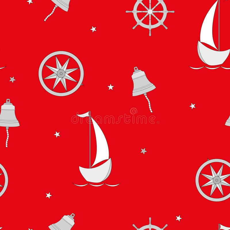 Colored sailboats compass stars seamless kids pattern vector illustration. royalty free illustration