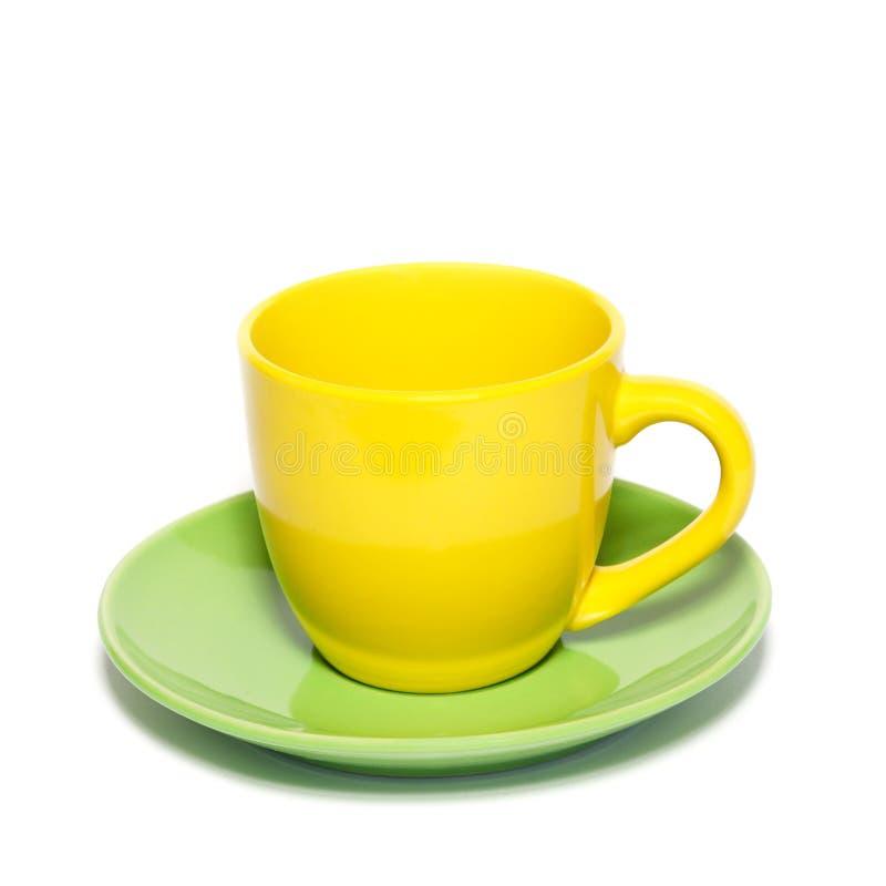 colored saucer teacup royaltyfri foto