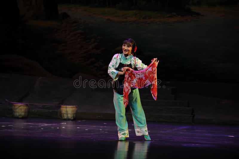 A colored scarf- Jiangxi opera a steelyard. Jiangxi opera a steelyard is adapted from a true story: the last century fortys, the protagonists father runs an oil stock photo