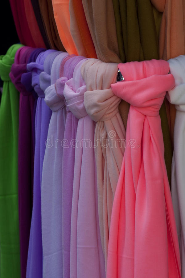 Colored scarfs stock photos