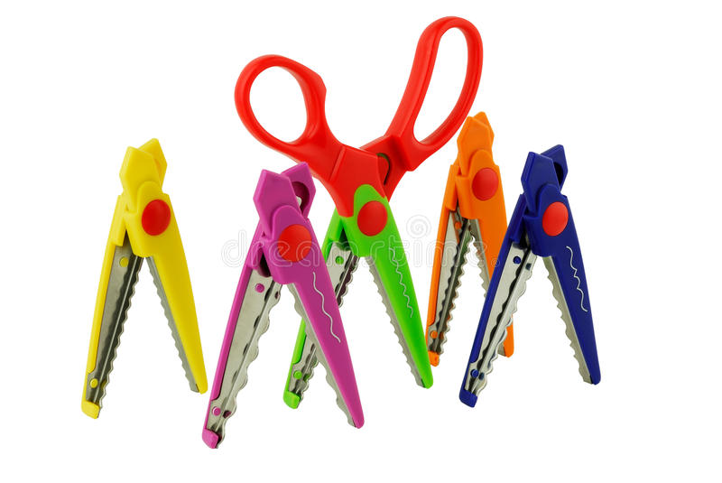 Colored scissors for scrapbooking royalty free stock photos