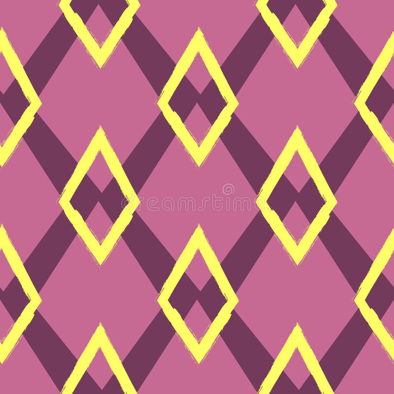 Colored seamless geometric pattern. Ornament of repeating rhombuses. stock illustration