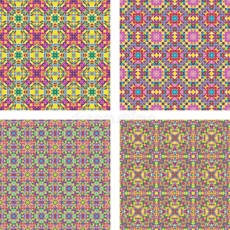 Colored seamless mosaic background set royalty free illustration