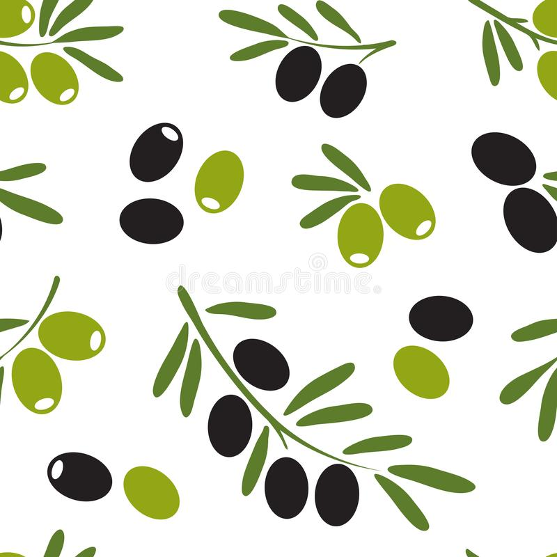Colored seamless pattern with black and green olives, hand drawn. Vector. Illustration royalty free illustration