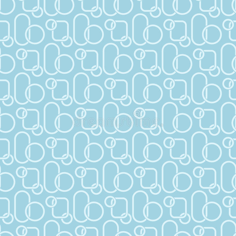 Colored seamless pattern with geometric elements. Blue and white background stock illustration