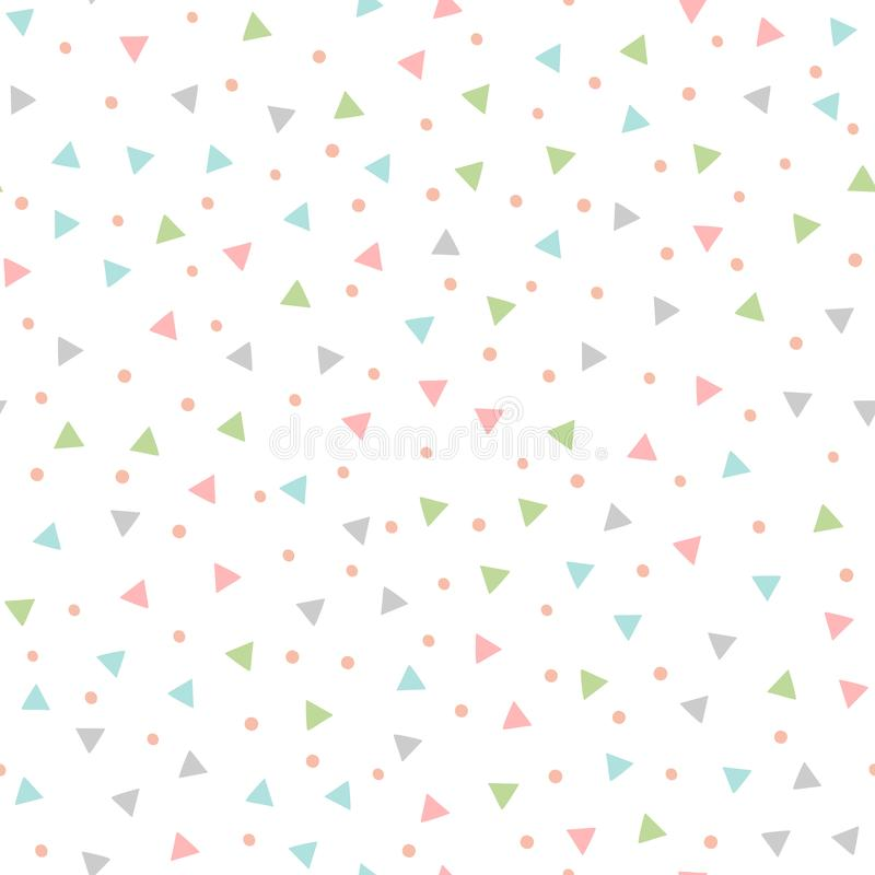 Colored seamless pattern with repeating triangles and round spots. Drawn by hand. stock illustration