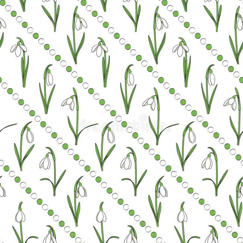 Colored seamless pattern with snowdrops, white and green beads stock illustration