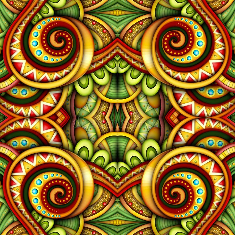 Colored Seamless Tile Pattern, Fantastic Kaleidoscope. Endless Ethnic Texture with Abstract Design Element. Khokhloma, Gypsy, Paisley Garden Style. Realistic vector illustration