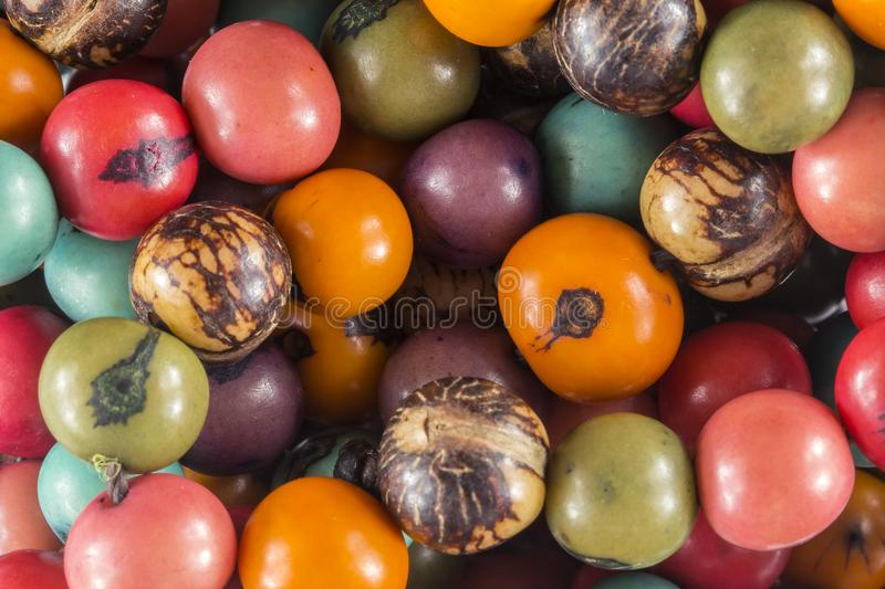 Colored seeds craftwork close up texture. Photo of colored seeds craftwork close up texture royalty free stock photos