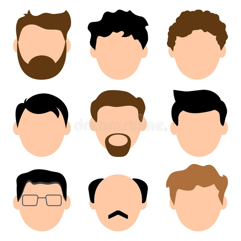 Colored set of avatars, faces of men. Young and old. Vector illustration. Colored set of avatars, faces of men. Young and old. Male characters. Vector stock illustration