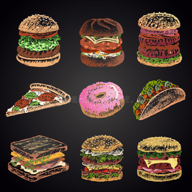 Colored set of chalk drawn 9 different fast food icons on black chalkboard: donut, pizza, burgers, tacos, sandwich. royalty free illustration