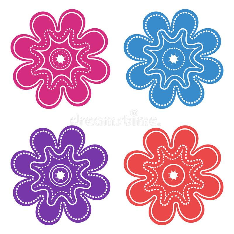 Colored set of decorative graphic flower icons. Vector royalty free illustration