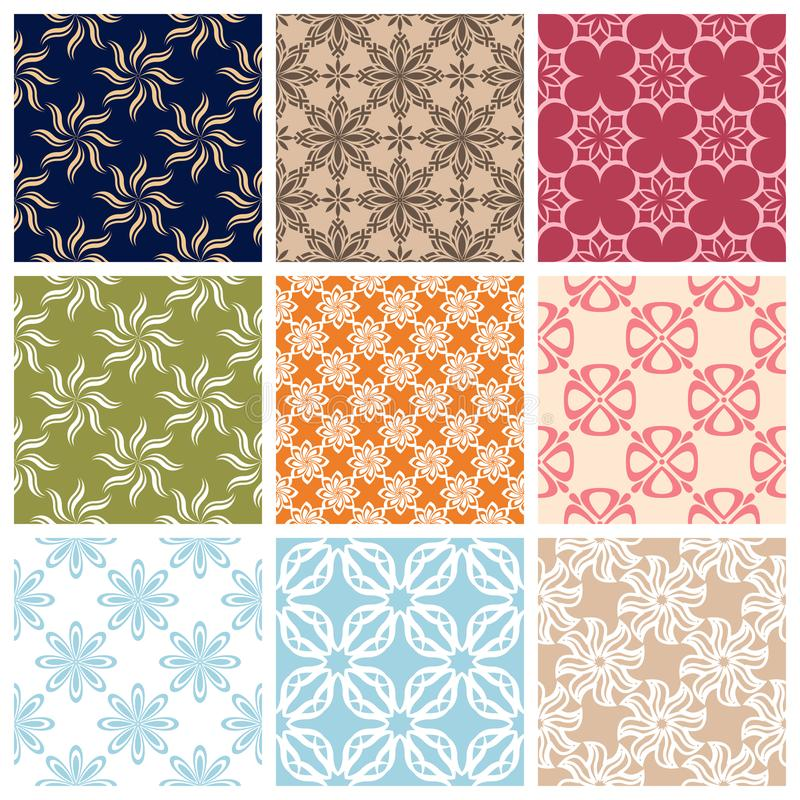 Seamless pattern.Set of Colored floral background royalty free stock photos