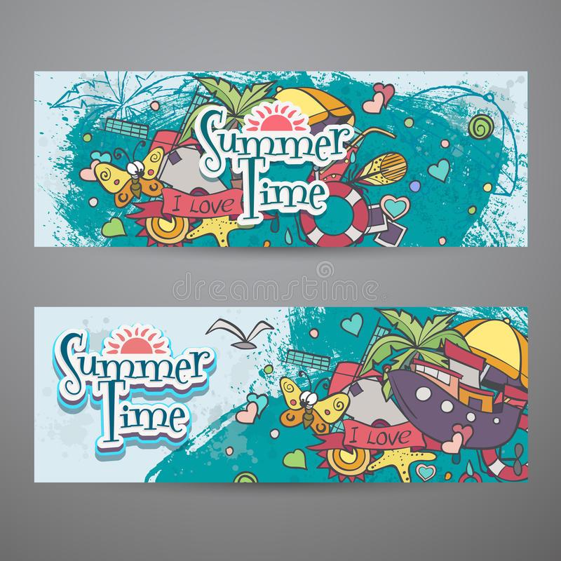 A colored set of horizontal banners with summer doodles vector illustration