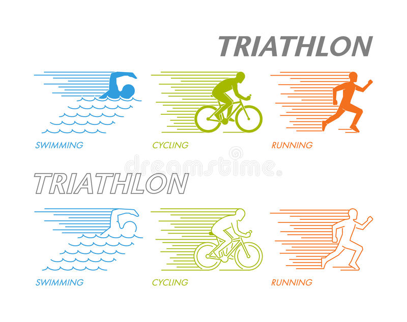 Colored set of silhouettes of triathlete royalty free illustration