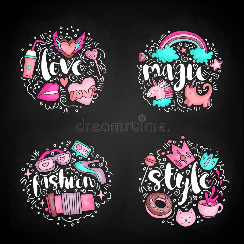 Colored Set of teenage girl icon concept, cute cartoon teen objects, fun stickers design vector with lettering love. Colored Set of teenage girl icons, cute stock illustration